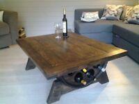 One off Bespoke Oak Barrel Flip top coffee table.