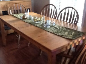 Ikea Table & 6 Solid Oak Chairs