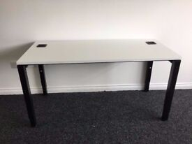 Office Desk in White with Height Adjustable Legs - Computer Desk