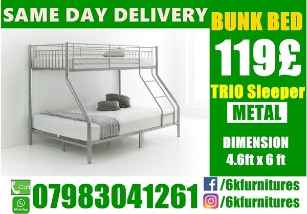 "Trio Sleeper metal Bunk Bedding frame availablein West Ealing, LondonGumtree - CALL NOW 07983041261 please click ""See all ads"" at the top to see more Beds and other furniture in our store"