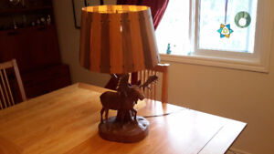 André Dubé signed carved wooden moose lamp