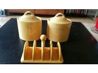 Yellow Ceramic Tea & coffee containers with toast holder