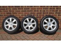 3 Alloy wheels with tyres -Seat Altea 16inch