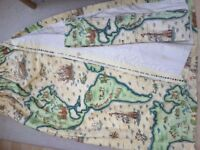 "Child's ""The New World"" cotton double lined curtains with matching tiebacks. Two pairs available."