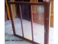 Pair of old vintage antique wooden windows, FREE DELIVERY.
