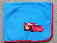 Baby Cot Bed Blanket Blue Disney Cars Design Mcqueen Large Bright Colourful Warm