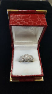 Beautiful Trinity Cluster Diamond Engagement Ring