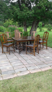 Antique table, 6 chairs and china cabinet