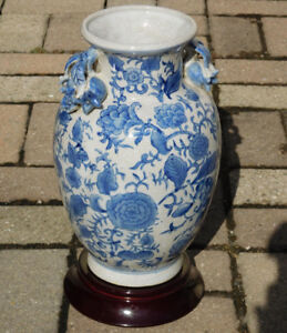 "Qing Dynasty Blue and White Porcelain Vase, 11.5"" High"