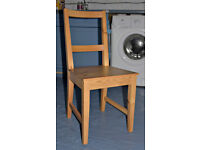 Four IKEA pine kitchen dining chairs