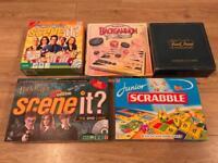 Board games , scene it , trivial pursuit , scrabble