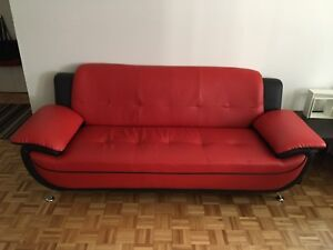 3Pcs - Red & Black Leather Couches *750* Negotiable