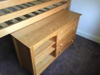Bed single bunk frame and under bed cupboard with 2 door wardrobe free