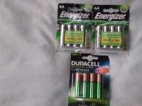 AA rechargeable batteries,2x energizer accu recharge power plus 1x duracell recharge
