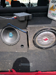 Car subwoofer with amp and wires