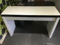 White desk with glass top