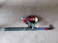Telescopic fishing tackle equipped with a reel
