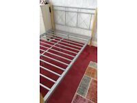 Metal and wood frame double bed