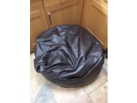 Soft brown leather bean bag