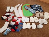 Baby Bundle bibs socks mittens booties hat from sizes from newborn upwards