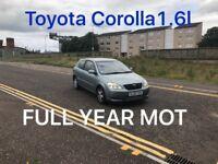£675 2002 Toyota Corolla 1.6l* like astra focus cmax megane civic scenic vectra mondeo,