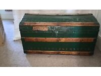 Characterful Vintage trunk . Painted on the outside and lined on teh inside.