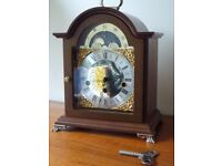 Franz Hermle Mahogany Moonphase Westminster Chime Bracket Mantle Clock