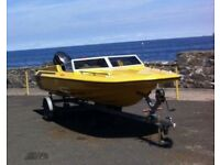 Planecraft Stingray Speedboat, Mercury 50 Engine & Trailer