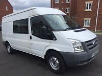 Ford transit van crew cab 2010 2.4 tdci lwb 9 seater 1 owner drives like new well serviced no vat