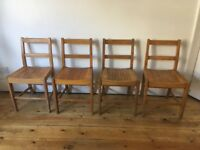 Vintage 1950s Dancer Hearne Air Ministry Beech Kitchen Dining Chairs Slatted