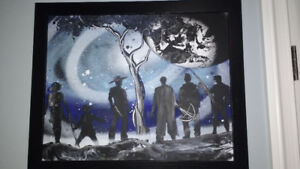 Walking Dead Inspired Original Spray Painting with frame - Mint
