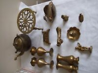 Collection of Brass orniments figures (bulk buy ) kettle, trivet, swan, vases, bell, cottage, etc