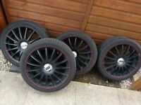18 INCH BLACK ALLOYS (WITH RED TRIM) 'RS LOOK'. BARGAIN. MUST SEE!
