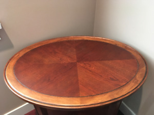 2 Tier Olal Oak Wood Inlay Table