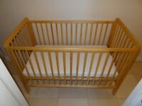 Mothercare drop-side cot + mattress