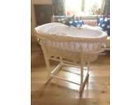 John Lewis Moses basket and Rocking Stand With Mattress RRP £100