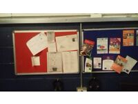 Notice boards for sale, aluminium frames, red and blue. Offers considered