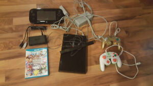 Nintendo WiiU with 2 games and game cube controllers