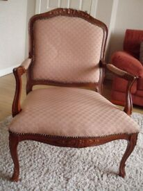 Regency style occasional arm chair. Some wear to wood - see photo. Possible upcycling project
