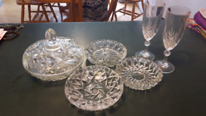 Crystal Ashtrays and Glass Set