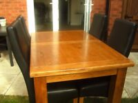 Dining Table and 4 Chairs Solid Oak Extending
