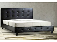 Double, diamond, crystal studs,, Leather bed, frame, Spring Quilted mattress. both,