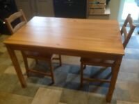 Pine dining table + 2 chairs