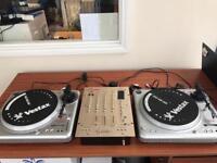 Pair of decks and mixer