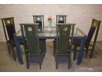 Oriental Style Dining Table With Six Chairs (DELIVERY AVAILABLE)