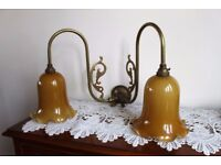 Two Pair of Brass Wall Lights