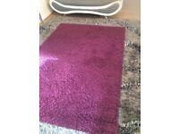 Rug - Aubergine/Purple shaggy style rug for bedroom/living room