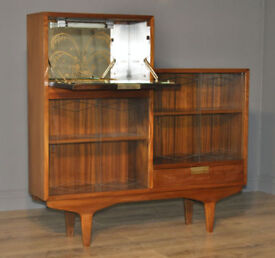 Retro 1960s Small Teak Glass Sliding Door Bookcase Cabinet With Cocktail Cabinet