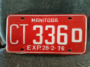 Vintage Red 1976 Manitoba License Plate