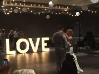 """White Marquee """"LOVE"""" letters with lights Rental"""